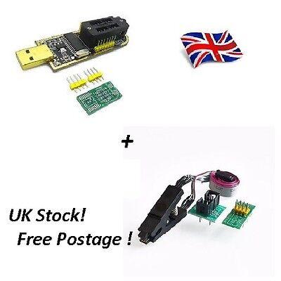 CH341A 24 25 Series EEPROM Flash BIOS USB Programmer + SOIC8 Clip On-Board ..UK