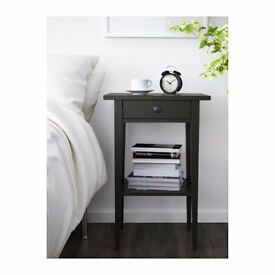 Two IKEA Hemnes black-brown bedside tables