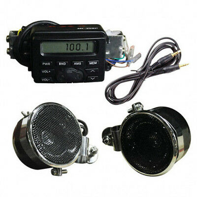 New Motorcycle Radio Stereo Speaker Sound System W  Amplifier Ipod Cable Input