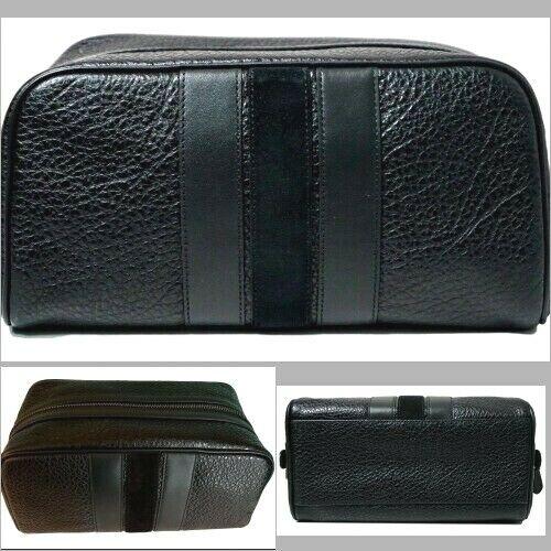 "COACH Travel Kit Bag Varsity Stripe F21387 Black Leather 10"""