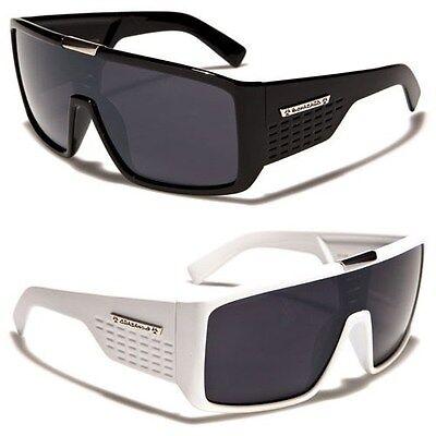 Biohazard Goggle Style Mens Designer Sunglasses Metal Detail on Center