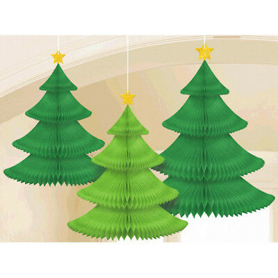 CHRISTMAS TREE HONEYCOMB DECORATIONS (3) ~ Birthday Party Supplies Hanging Paper](Christmas Paper Decorations)