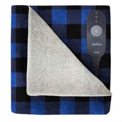 "Blue Plaid Electric Heated Fleece Blanket Warm Microplush Sherpa 60"" x 50"""
