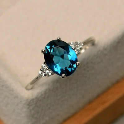 2.15 Ct Oval Cut Blue Topaz Delicate Diamond Wedding Ring 14K White Gold Plated - $99.99
