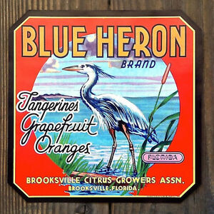 Vintage-Original-BLUE-HERON-CITRUS-CRATE-Box-Label-Tangerine-Grapefruit-Oranges