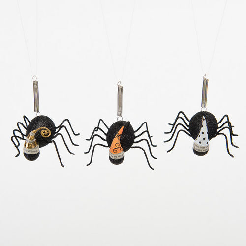 Halloween Bungie Spiders w Hats - Bouncy Bugs Hanging Party - VI0272 Set of 3
