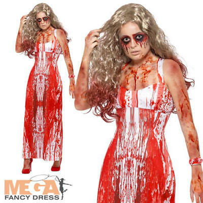Bloody Prom Queen Ladies Fancy Dress Gory Carrie Halloween Adults Womens Costume - Bloody Gory Halloween Costumes