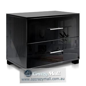 High Gloss Chest Bedside Table with 2 Drawers Black/White Melbourne CBD Melbourne City Preview