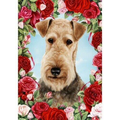 Roses House Flag - Airedale Terrier 19027