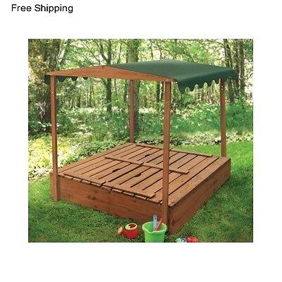 Outside Sandbox Toy Cover Canopy Wooden Bench Kids Sandpit Backyard Playhouse