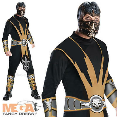 Mortal Kombat Mens Costume + Mask Scorpion Ninja Samurai Adults 90s Fancy Dress