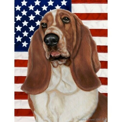 Patriotic (D2) House Flag - Basset Hound 32021