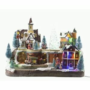 Large LED Lit Christmas Village With Train Musical Scene
