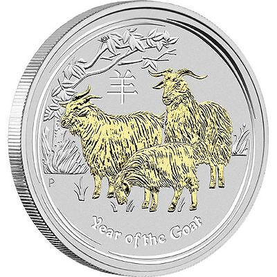 2015 1 oz Australian Silver Goat Coin (Gilded, BU w/ COA)