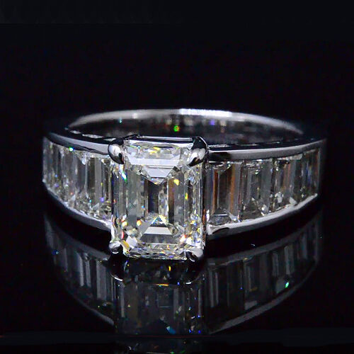 Lovely 4.50 Ct Emerald Cut & Baguette Diamond Engagement Ring F,VS1 GIA Platinum 1