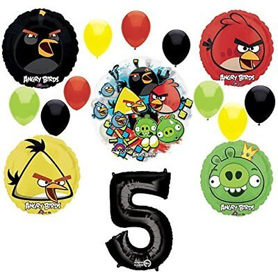 Angry Birds 5th Birthday Party Supplies and Group See-Thru Balloon Decorations - Angry Bird Birthday Supplies