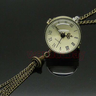 Vintage Antique Brass Glass Ball Steampunk Pocket Watch Chain Necklace Pendant Brass Quartz Pocket Watch