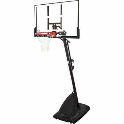 "Spalding 54"" Portable Basketball System Adjustable Hoop Backboard Net Pole 66291"