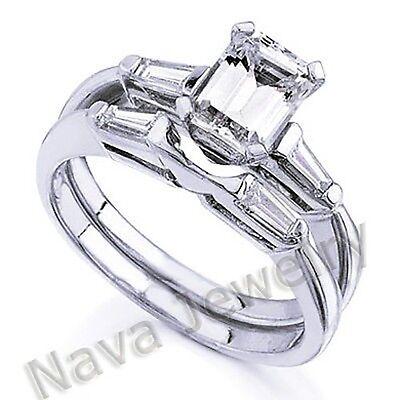 1.20 Ct. Emerald Cut Diamond Bridal Set Ring GIA 14k Gold Non-Enhanced