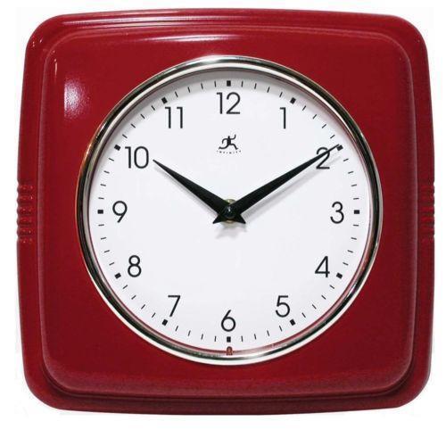 Retro Red Wall Clock Ebay