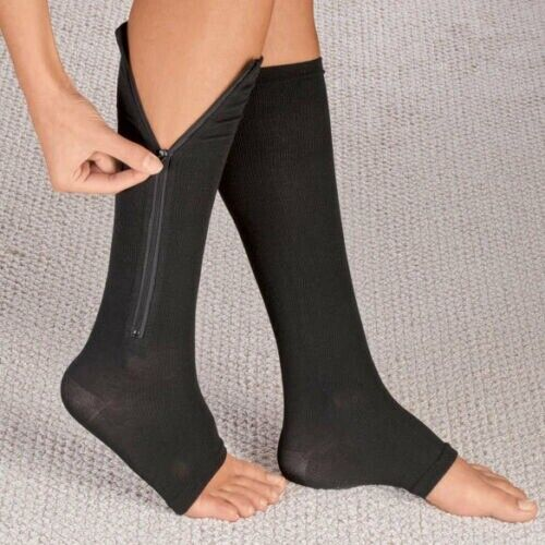 Open Toe Zippered Compression Socks Support Stockings Leg Ca