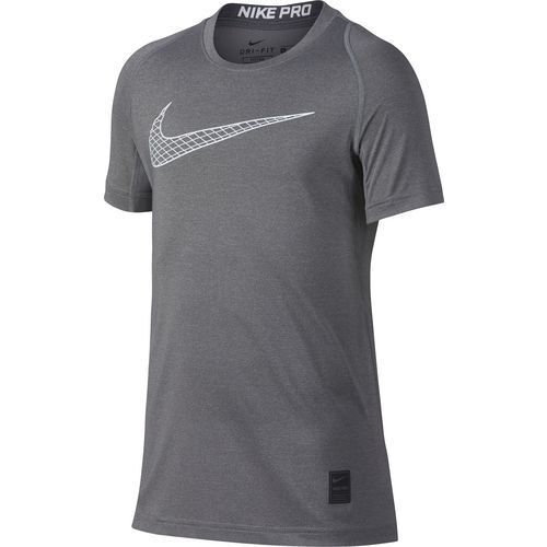 Nike Pro Boys Youth MEDIUM GREY Short Sleeve Training Top NEW DRY FIT