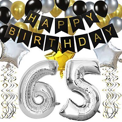 Happy Brithday Banner (KUNGYO Classy 65TH Birthday Party Decorations Kit-Black Happy Brithday)