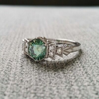 1.10 Ct Round Cut Green Moissanite Vintage Engagement Ring 925 Sterling Silver 7 Moissanite Vintage Ring