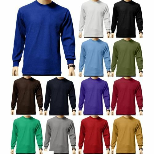 Men's Heavy Weight Waffle Thermal Shirt Long Sleeve Top Unde