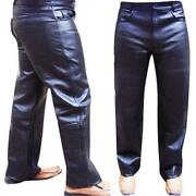 Mens Leather Biker Jeans