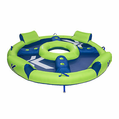 Kelsyus Big Nauti 4-Person Inflatable Pool Float Tube Raft, Green & Blue | 80108