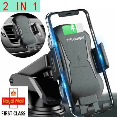 Fast Charging Qi Wireless Car Charger Mount Dashboard Dash Air Vent Phone Holder