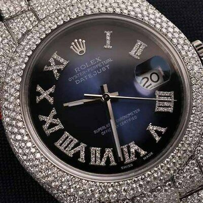 Rolex Datejust II 116300 Blue Vignette Roman Numeral Dial SS Fully Iced Out 41mm