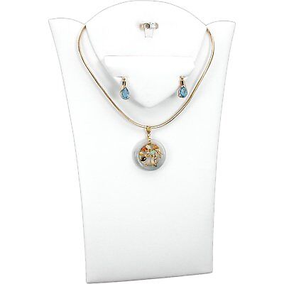 White Faux Leather Ring Necklace Earring Bust Jewelry Display 8 18 X 11 38
