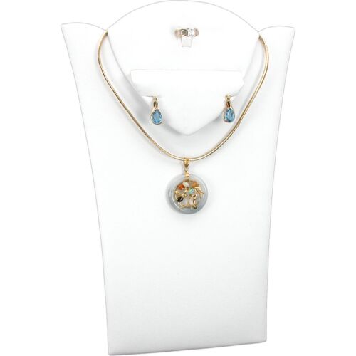 """White Faux Leather Ring Necklace Earring Bust Jewelry Display 8 1/8"""" x 11 3/8"""""""