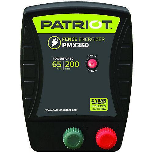 Patriot PMX350 Electric Fence Charger Energizer, 3.5 Joule, 65 miles, 200 acres