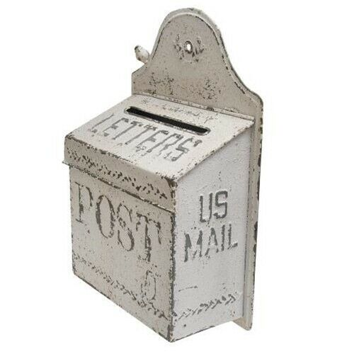 Vintage Style White METAL US MAILBOX Post Letters Embossed Primitive Farmhouse