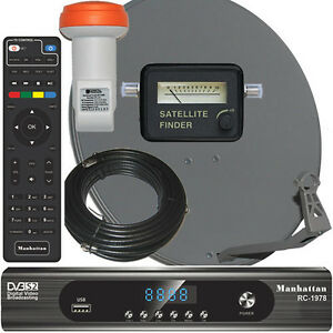 Complete HD FTA Satellite System Manhattan RC-1978 HD Receiver LNB Dish Meter