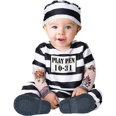 Toddler Inmate Costume (toddlers 12-18 months CONVICT CUTIE costume jail prisoner inmate boys)