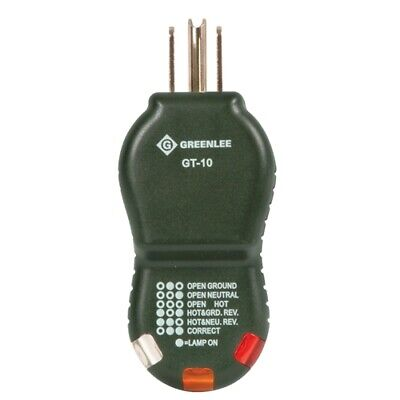 Greenlee Gt-10 Outlet Circuit Cube Polarity Tester With Light Sequence Indicator