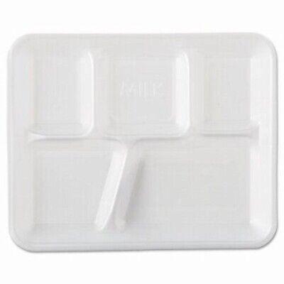 Genpak Foam Serving Trays 5-compartment White 500 Trays Gnp10500