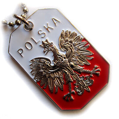 BEST POLAND FLAG PENDANT EAGLE POLSKA CREST DOG TAG MILITARY BALL CHAIN NECKLACE