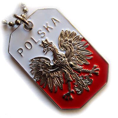 POLAND FLAG PENDANT NECKLACE POLISH WHITE EAGLE POLSKA CREST DOG-TAG BALL CHAIN