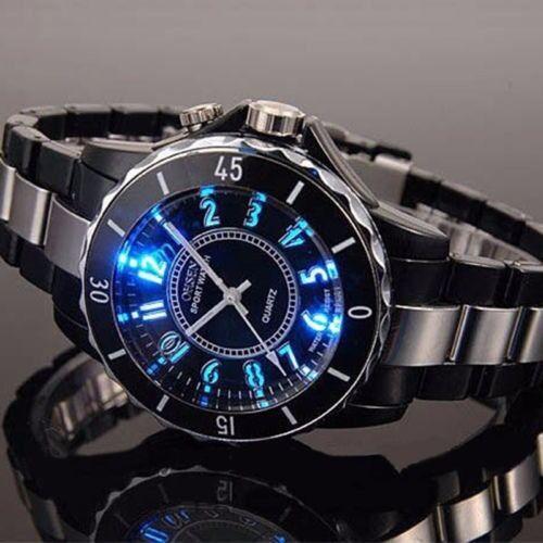 Mens Watches - OHSEN Men's 7 LED Backlight Stainless Steel Sport Quartz Wrist Watch Waterproof