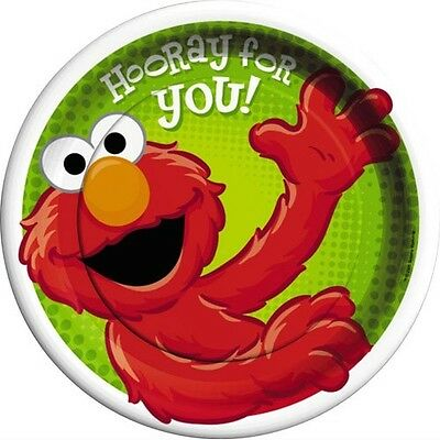 Sesame Street Party Plates (SESAME STREET Hooray For Elmo LARGE PAPER PLATES (8) ~ Birthday Party Supplies)