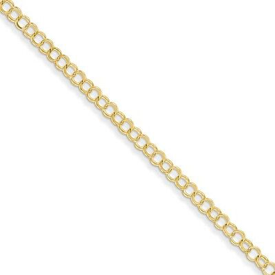 14k Yellow Gold 7in Solid Double Link Charm Bracelet