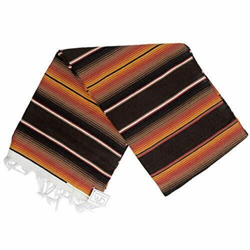 Vintage Style Mexican Blanket Striped Brown Orange Serape Baja Saltillo XL Throw
