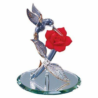 Hummingbird with Red Flower Glass Figurine