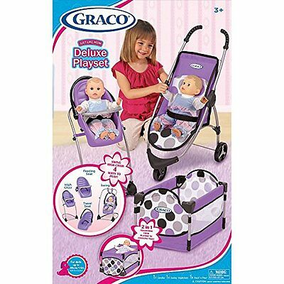 Graco Just like Mom Deluxe Playset Doll Highchair Stroller Carier Purple edition