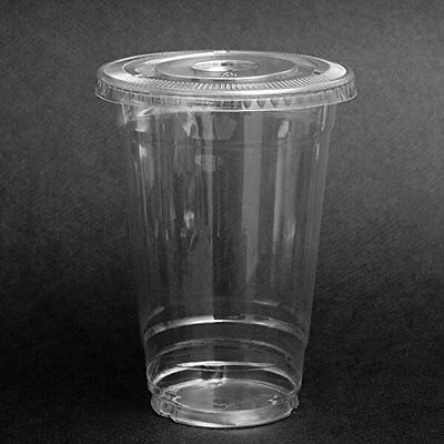 Plastic Coffee Cups With Lids (SafePro 100 Sets 24 oz Plastic CLEAR Cups with FLAT Lids for Iced Coffee)